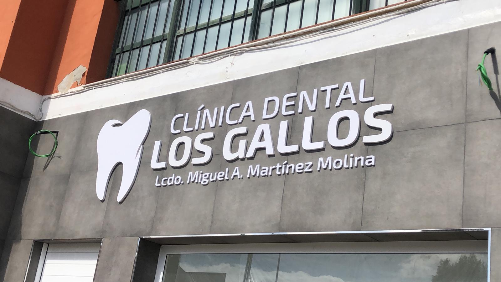 Detalle rótulos de la clínica dental Los gallos