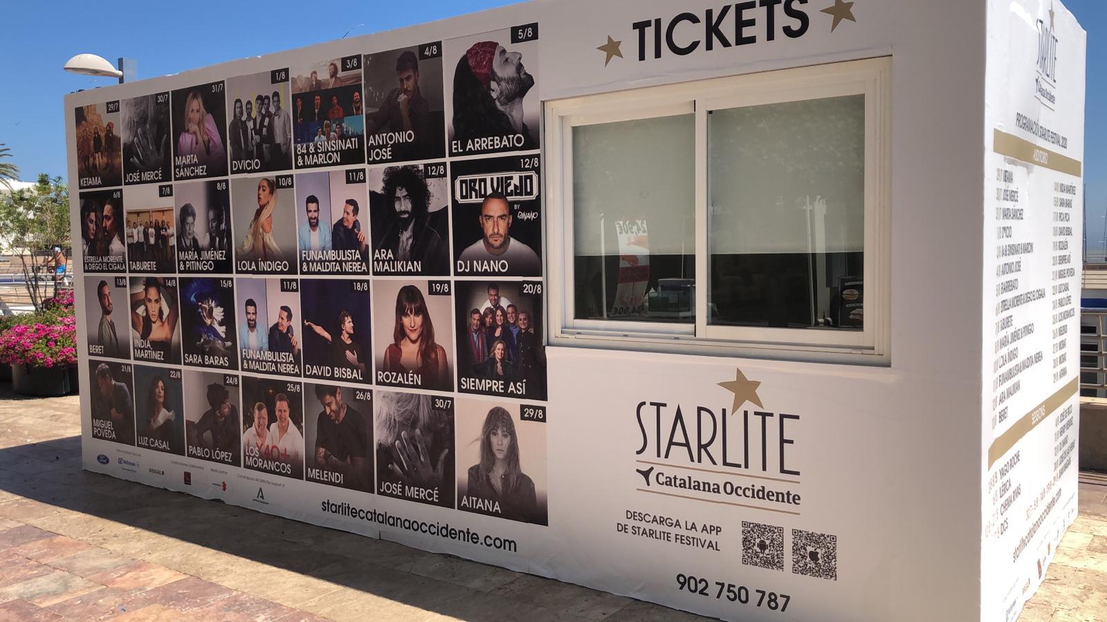 Parte frontal venta de tickets starlite