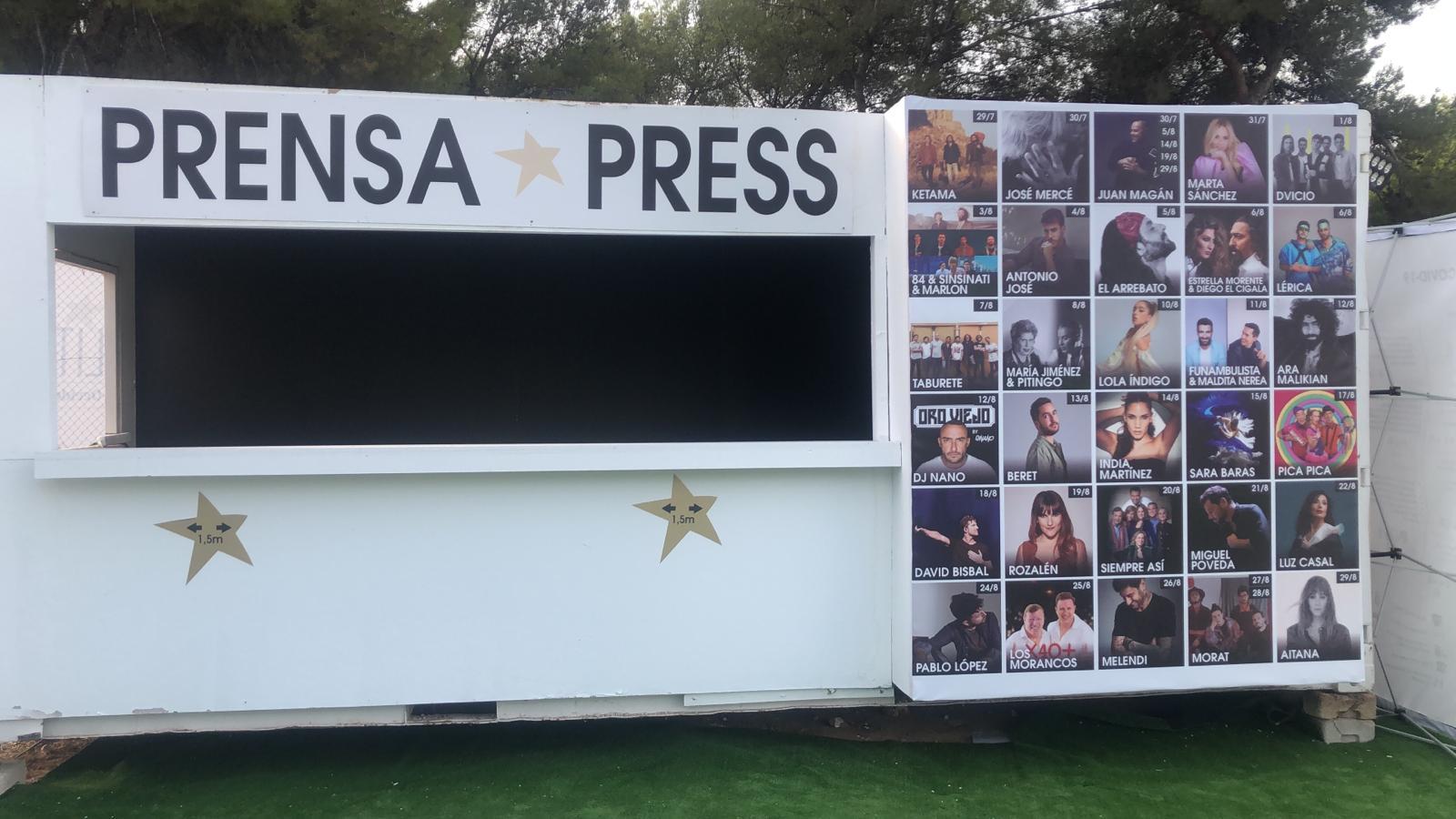 Zona de prensa en el festival Starlite