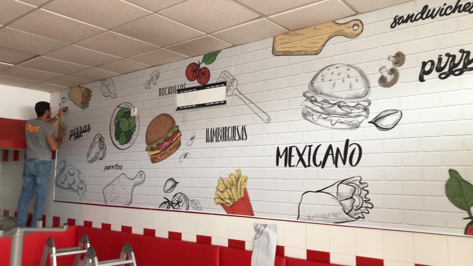 Colocación de vinilo diseño de comida rápida