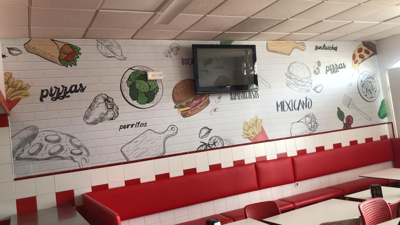 Diseño pared pizzería con vinilo